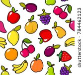 seamless pattern of fruits with ... | Shutterstock . vector #784462123