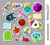 set of stickers with space... | Shutterstock . vector #784462237