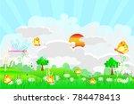 spring scene landscape concept  ... | Shutterstock .eps vector #784478413