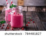 pink smoothie with wild... | Shutterstock . vector #784481827