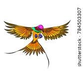 chinoiserie bird of paradise... | Shutterstock .eps vector #784503307