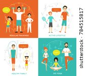 healthy family flat concept... | Shutterstock . vector #784515817