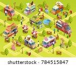 street food trucks selling bbq... | Shutterstock . vector #784515847