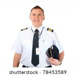 Cheerful Pilot Wearing Uniform...