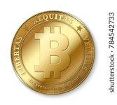 realistic 3d golden bitcoin... | Shutterstock . vector #784542733