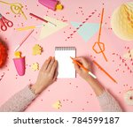 colorful pink background with...   Shutterstock . vector #784599187