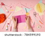 colorful pink background with... | Shutterstock . vector #784599193