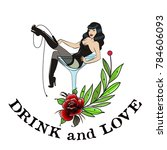 lady and wineglass. tattoo... | Shutterstock .eps vector #784606093