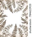 leaves of plants engraving... | Shutterstock .eps vector #784622923