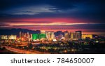 Stock photo city of las vegas skyline at scenic dusk colorful lights of the world famous sin city nevada 784650007
