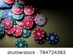close up view of poker chips on ... | Shutterstock . vector #784724383