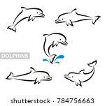 dolphins set. vector  | Shutterstock .eps vector #784756663