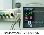 Stock photo monitor vital sign and ekg monitor in icu unit it show the waves of blood pressure blood oxygen 784793737