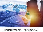 global network coverage world... | Shutterstock . vector #784856767