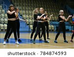 Small photo of Orenburg, Russia - December 9, 2017 year: girls compete in fitness aerobics on superiority of the Orenburg region on fitness aerobics and sports aerobics