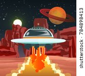 a flying saucer takes off from... | Shutterstock .eps vector #784898413