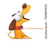 funnu  cute  crazy yellow dog... | Shutterstock .eps vector #784899553