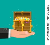 opened chest with padlock in... | Shutterstock .eps vector #784901383