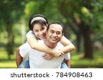 happy young couple together... | Shutterstock . vector #784908463