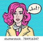 comics girl  speech bubble. pop ... | Shutterstock .eps vector #784916347