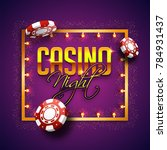 golden text casino night with... | Shutterstock .eps vector #784931437