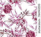 watercolor peonies seamless... | Shutterstock . vector #784943593