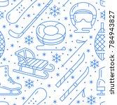 winter sports blue seamless... | Shutterstock .eps vector #784943827