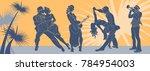 salsa dance vector.tango couple ... | Shutterstock .eps vector #784954003