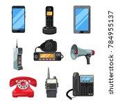 different telephones ... | Shutterstock . vector #784955137