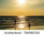 sandy beach  golden sea  sunset | Shutterstock . vector #784980763