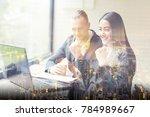 business people having meeting... | Shutterstock . vector #784989667