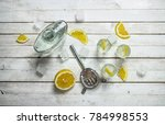 vodka shots with lemon and ice. ... | Shutterstock . vector #784998553
