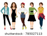 womans fashion styles... | Shutterstock . vector #785027113