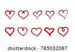 set of red hearts. vector ... | Shutterstock .eps vector #785032087