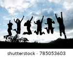 silhouette group of young... | Shutterstock . vector #785053603