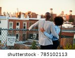 young black couple embracing on ... | Shutterstock . vector #785102113
