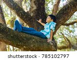 young teenager enjoying the... | Shutterstock . vector #785102797