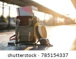 map in backpack  mobile phone... | Shutterstock . vector #785154337