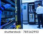 networking device on rack... | Shutterstock . vector #785162953