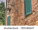 old streetlamp on a red brick... | Shutterstock . vector #785180647