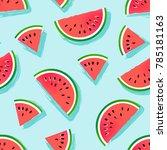 seamless watermelons pattern.... | Shutterstock .eps vector #785181163
