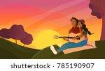 vector flat loving couple... | Shutterstock .eps vector #785190907
