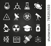 white science icons on... | Shutterstock . vector #785201533