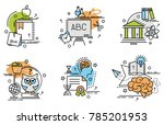 set of outline icons of... | Shutterstock .eps vector #785201953