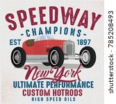 vintage race car illustration... | Shutterstock .eps vector #785208493