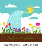 flower bed with various spring... | Shutterstock .eps vector #785241553