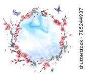 watercolor spring round frame ... | Shutterstock . vector #785244937