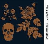 vector set with golden rose and ...