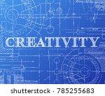 creativity sign and gear wheels ... | Shutterstock .eps vector #785255683
