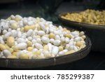 Silk Cocoons In A Wooden Basket